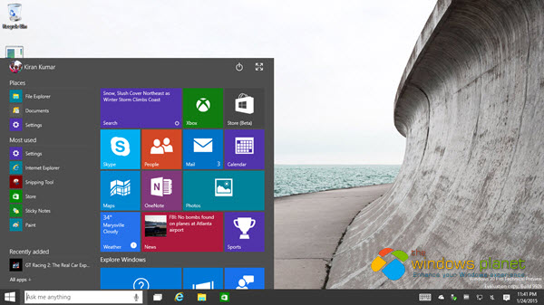 new windows 10 build how to start menu all programs