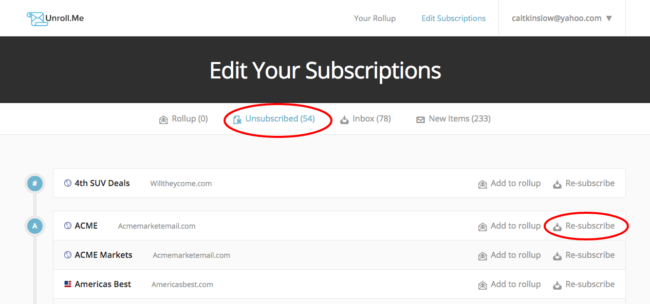 Edit Unsubscribed Subscriptions – Unroll.Me